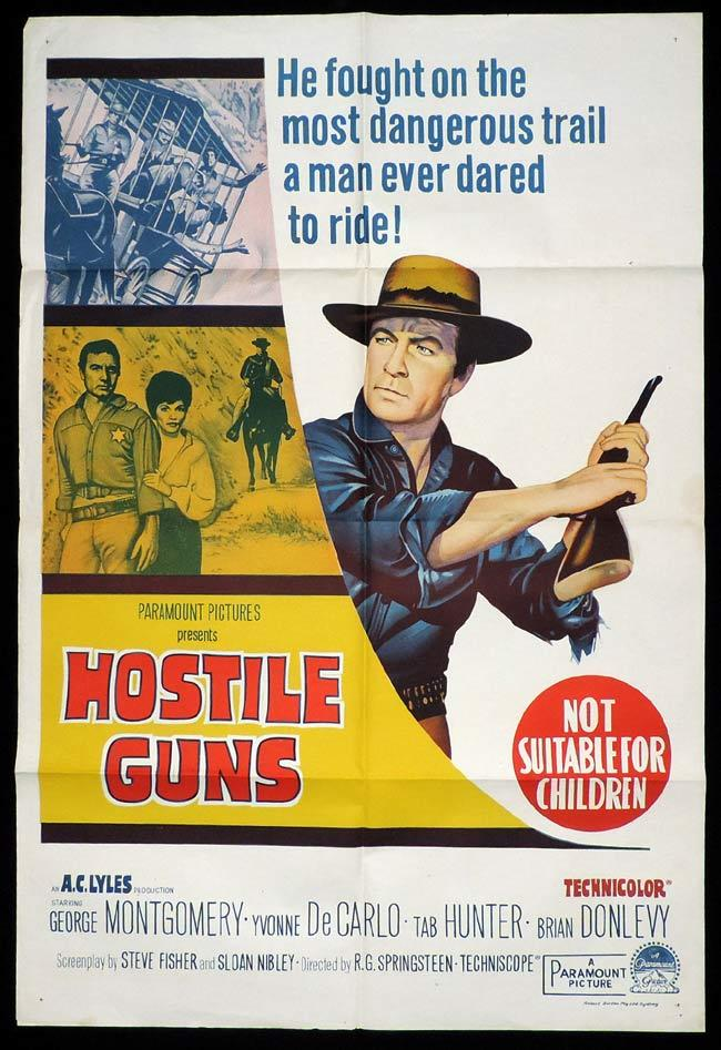 HOSTILE GUNS One Sheet Movie Poster George Montgomery Western