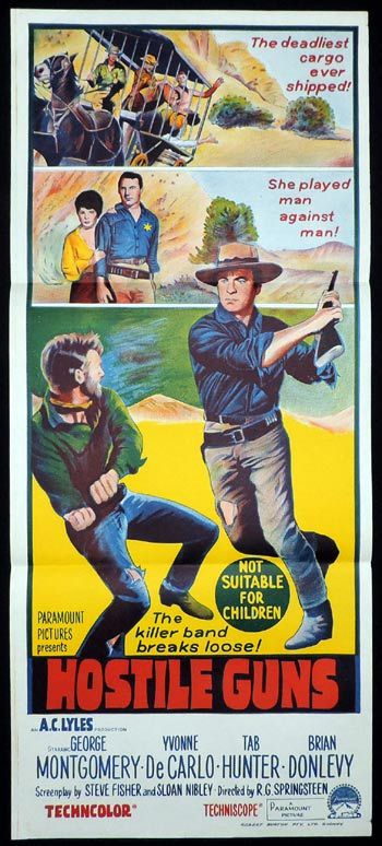 HOSTILE GUNS Original Daybill Movie poster George Montgomery