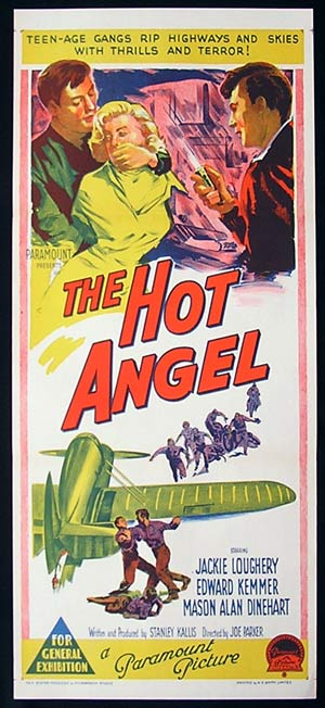 THE HOT ANGEL 1958 Hot Rod Hot Shots and their Tailgate Babes! RICHARDSON STUDIO Daybill movie poster