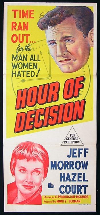 HOUR OF DECISION Daybill Movie poster Jeff Morrow Hazel Court