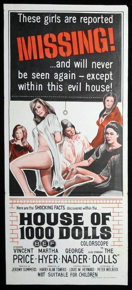 HOUSE OF 1000 DOLLS Original Daybill Movie Poster Vincent Price Martha Hyer George Nader