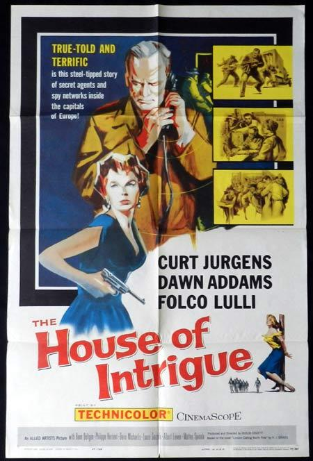 HOUSE OF INTRIGUE Original One sheet Movie poster Curt Jurgens Dawn Addams