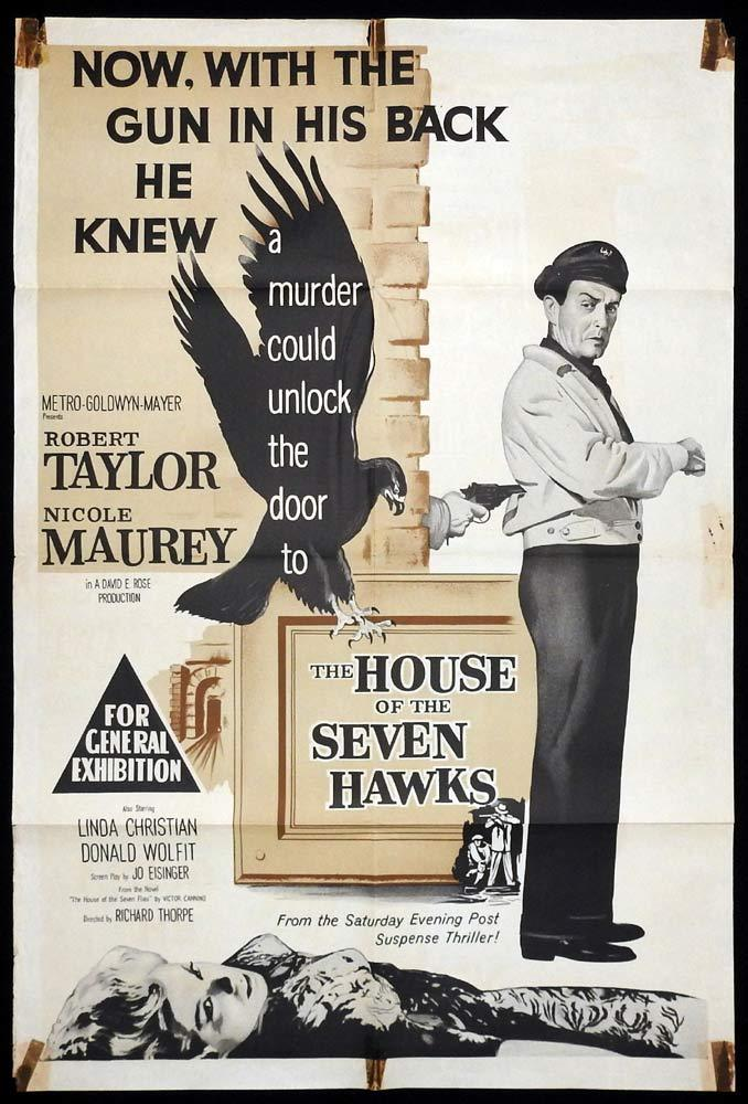 HOUSE OF THE SEVEN HAWKS Original One sheet Movie Poster Robert Taylor