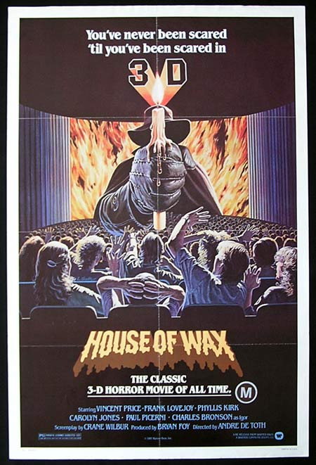 HOUSE OF WAX US One sheet Movie poster '81R Vincent Price 3D!