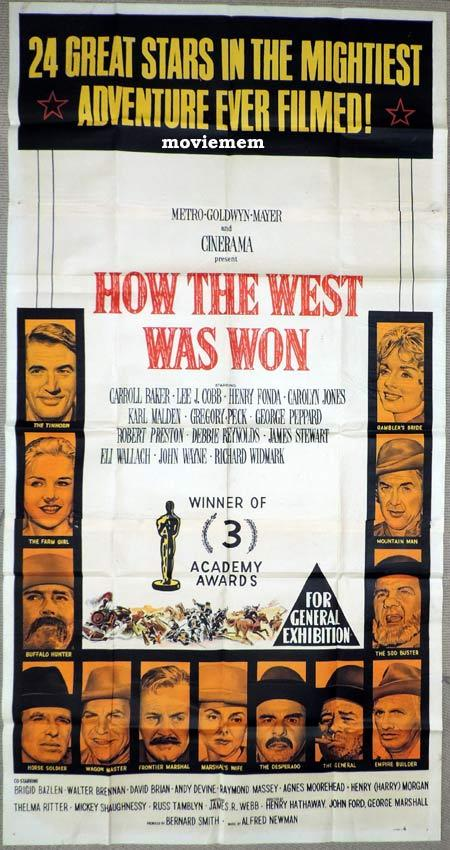 HOW THE WEST WAS WON Original 3 Sheet Movie Poster John Wayne James Stewart