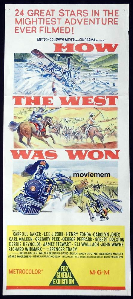 HOW THE WEST WAS WON Original Daybill Movie Poster John Ford John Wayne