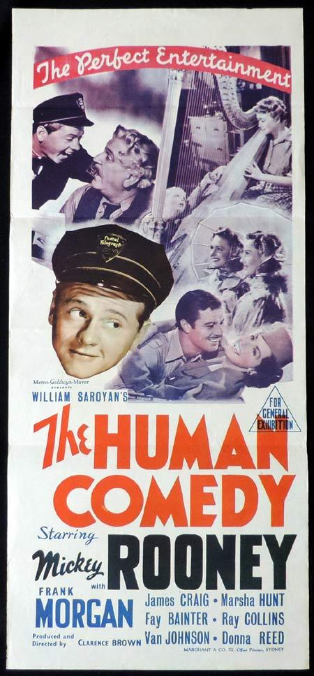 THE HUMAN COMEDY Original Daybill Movie Poster Mickey Rooney Marchant Graphics