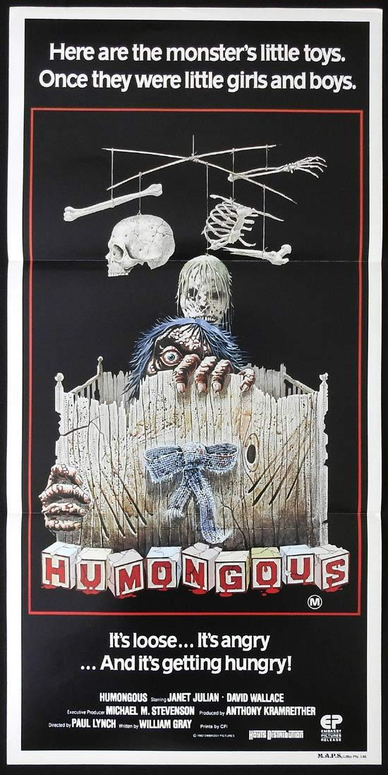 HUMONGOUS Original Daybill Movie Poster Janet Julian Horror
