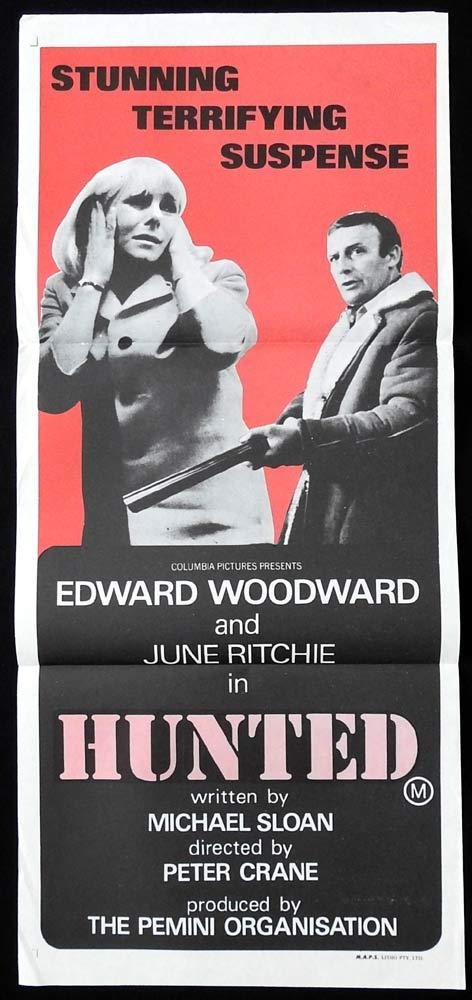 HUNTED Original Daybill Movie Poster Edward Woodward June Ritchie