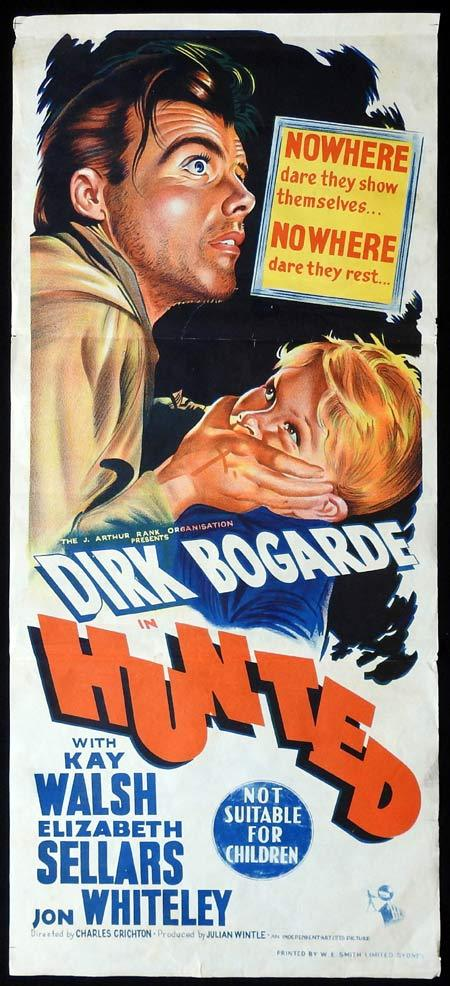 HUNTED Movie poster DIRK BOGARDE Rare Daybill