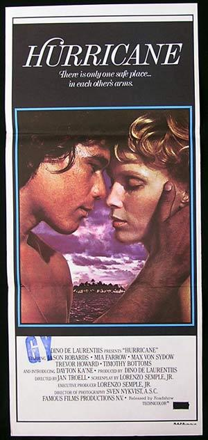 HURRICANE 1979 Robards MIA FARROW Von Sydow daybill movie poster