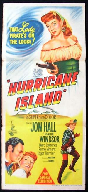 HURRICANE ISLAND 1951 Jon Hall RARE Daybill Movie poster