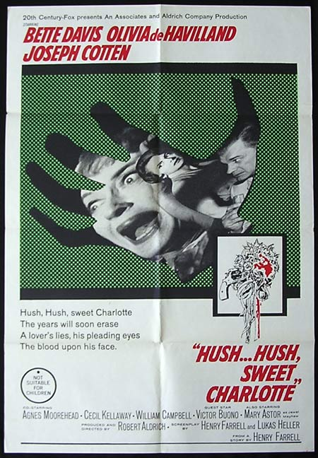 HUSH HUSH SWEET CHARLOTTE Original One sheet Movie poster Bette Davis