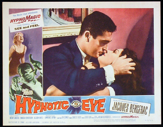 THE HYPNOTIC EYE Lobby card 1 1960 Jacques Bergerac HYPNOMAGIC