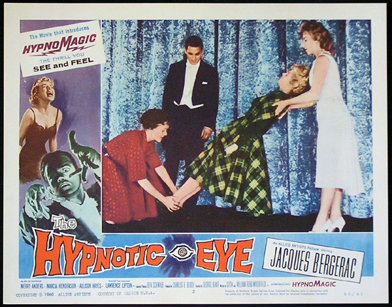 THE HYPNOTIC EYE Lobby card 2 1960 Jacques Bergerac HYPNOMAGIC