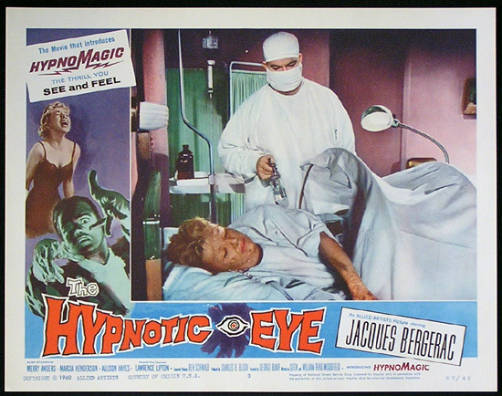 THE HYPNOTIC EYE Lobby card 3 1960 Jacques Bergerac HYPNOMAGIC