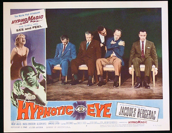 THE HYPNOTIC EYE Lobby card 4 1960 Jacques Bergerac HYPNOMAGIC