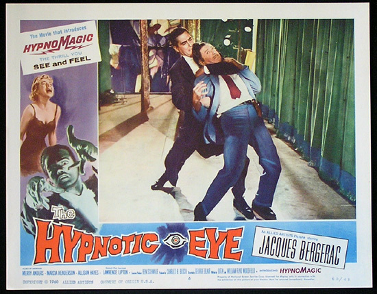 THE HYPNOTIC EYE Lobby card 6 1960 Jacques Bergerac HYPNOMAGIC