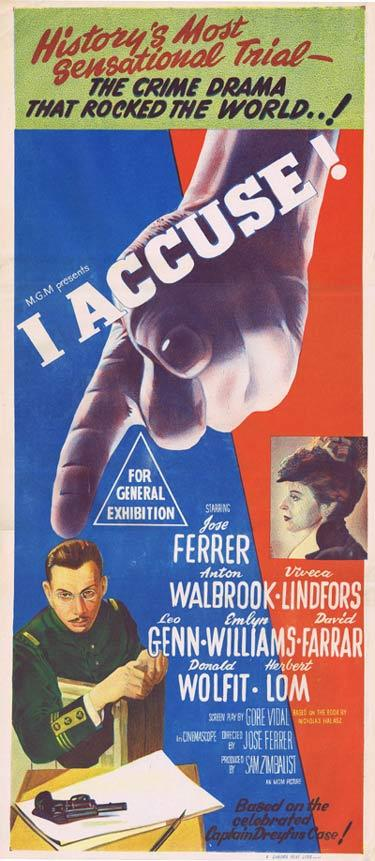 I ACCUSE Daybill Movie Poster Jose Ferrer Dreyfus Case