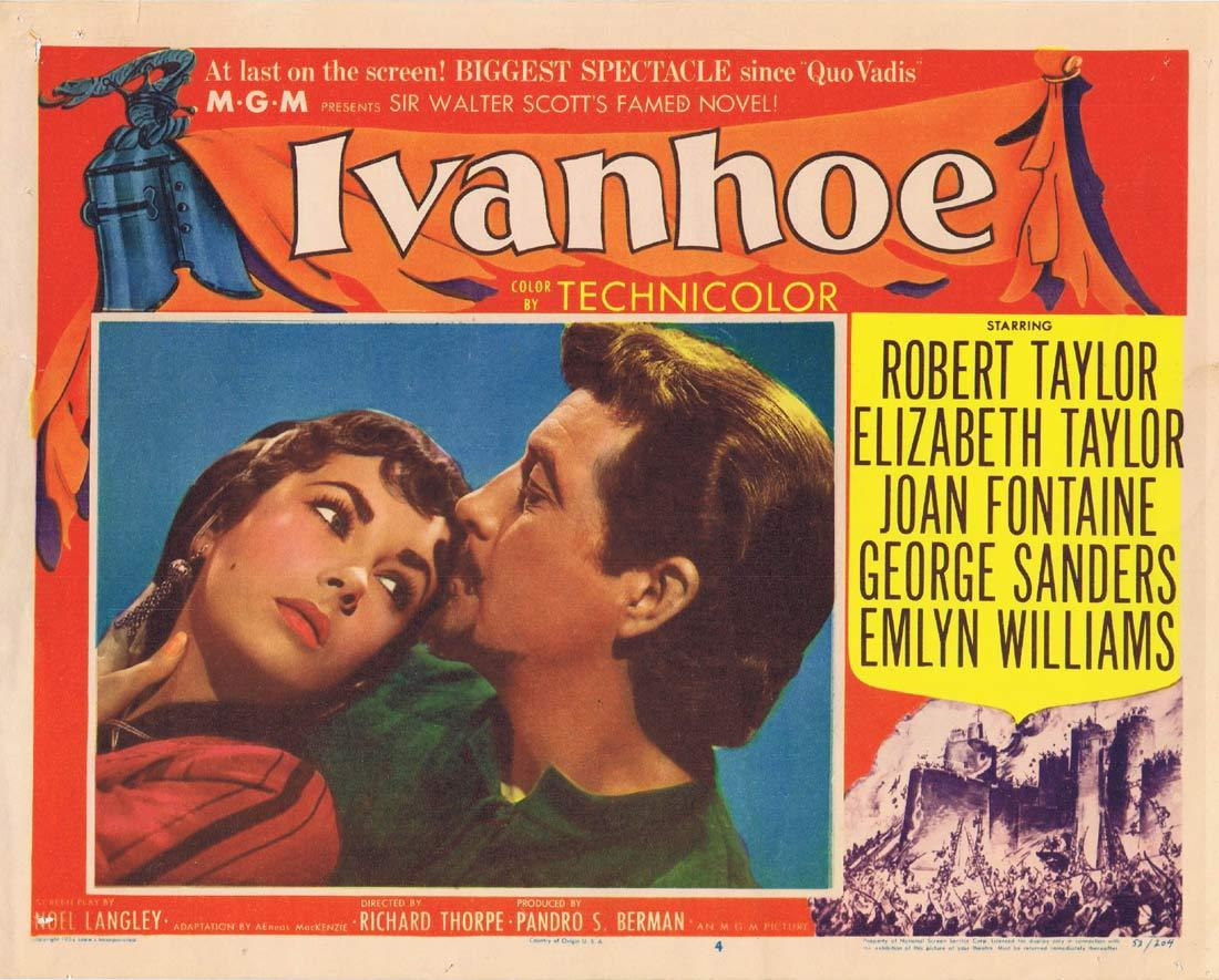 IVANHOE Original Lobby Card 4 Robert Taylor Elizabeth Taylor Joan Fontaine