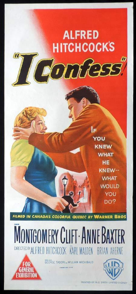 I CONFESS Daybill Movie poster Montgomery Clift Alfred Hitchcock