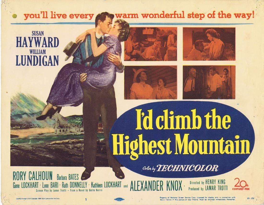 I'D CLIMB THE HIGHEST MOUNTAIN Title Lobby card William Lundigan Susan Hayward Ralph Meeker