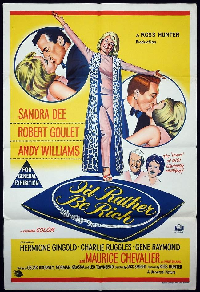 I'D RATHER BE RICH Original One sheet Movie poster Sandra Dee Robert Goulet