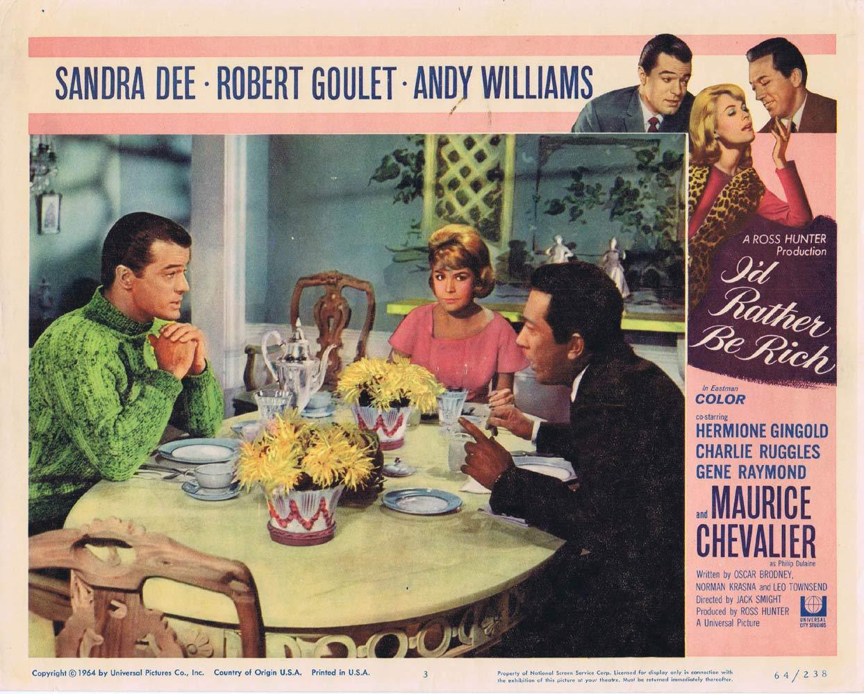 I'D RATHER BE RICH Lobby Card 3 Robert Goulet Sandra Dee
