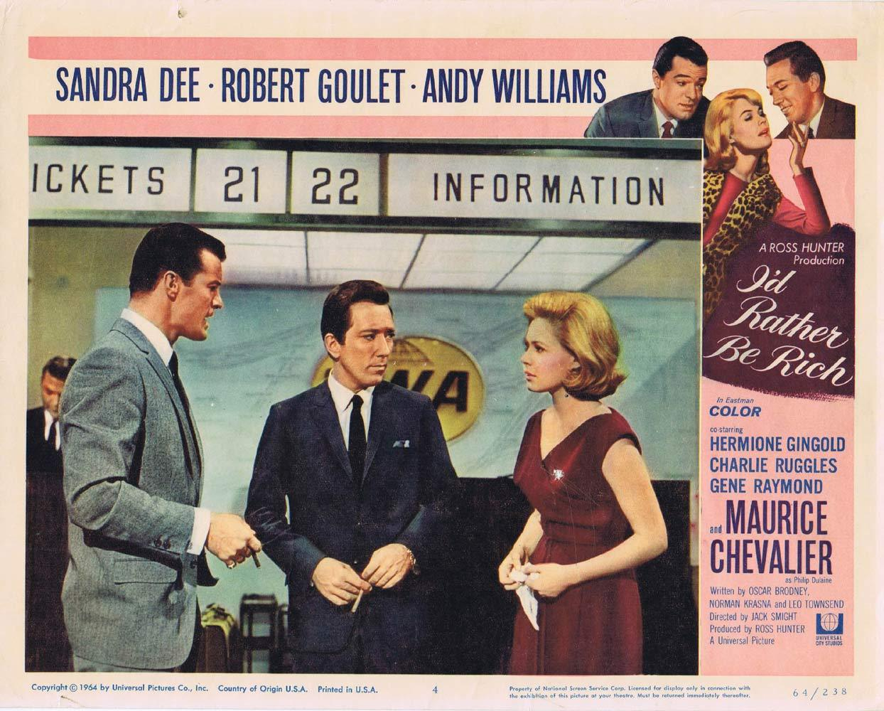 I'D RATHER BE RICH Lobby Card 4 Robert Goulet Sandra Dee