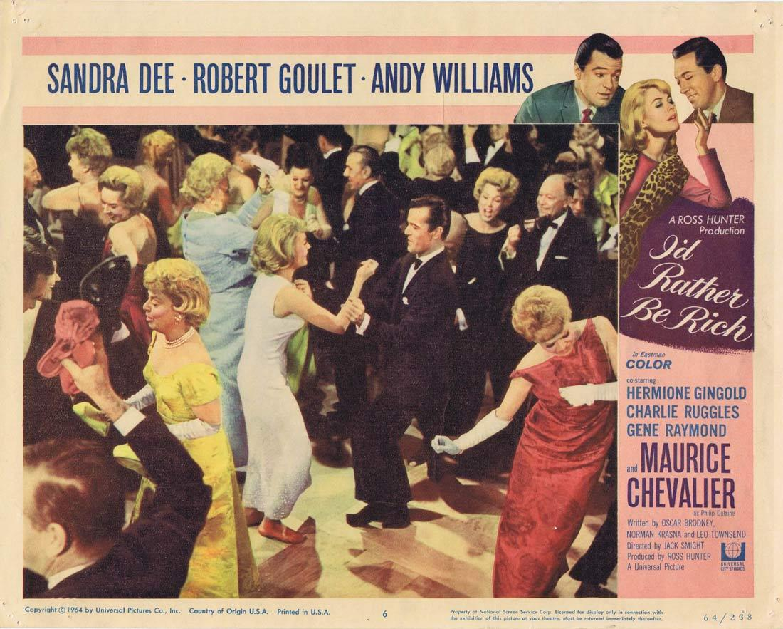 I'D RATHER BE RICH Lobby Card 6 Sandra Dee Robert Goulet Andy Williams