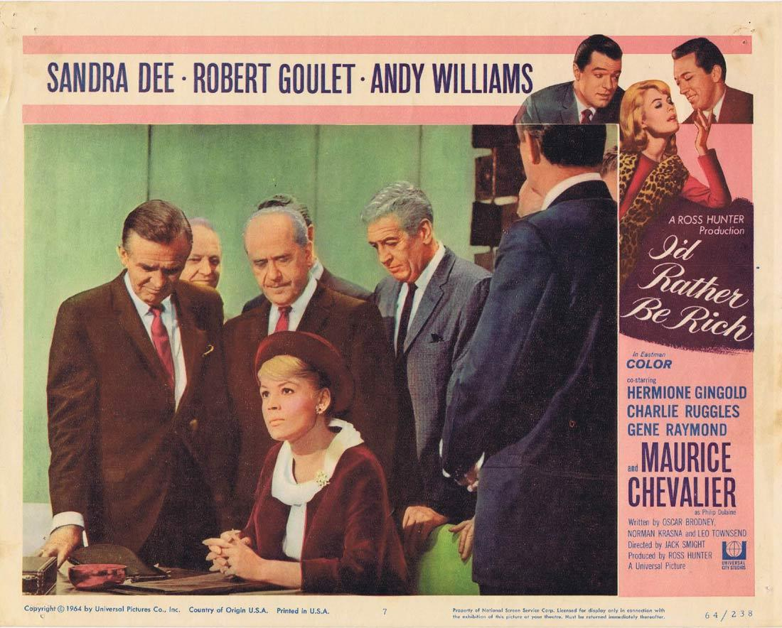 I'D RATHER BE RICH Lobby Card 7 Sandra Dee Robert Goulet Andy Williams