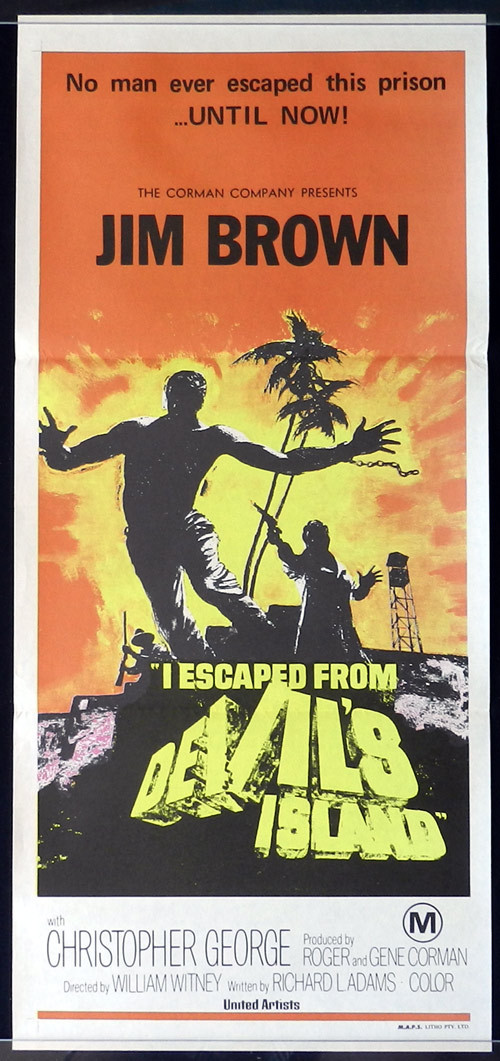 I ESCAPED FROM DEVILS ISLAND Original Daybill Movie poster 1973 Jim Brown