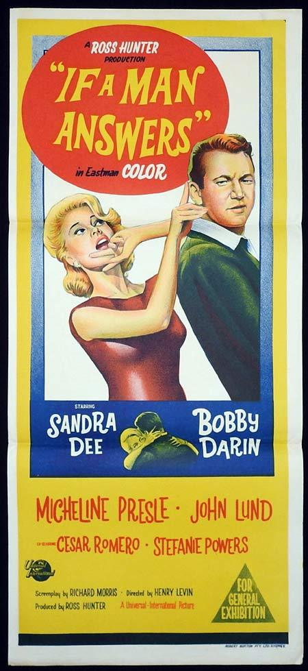 IF A MAN ANSWERS Original Daybill Movie poster Sandra Dee Bobby Darin