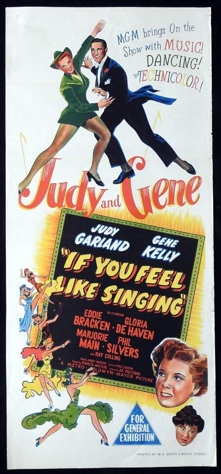 IF YOU FEEL LIKE SINGING Original daybill Movie Poster JUDY GARLAND Gene Kelly