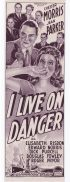 I LIVE ON DANGER Original Daybill Movie Poster Chester Morris Jean Parker FILM NOIR Narrow Format