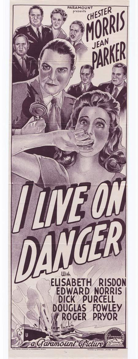 I LIVE ON DANGER Original Daybill Movie Poster Chester Morris Jean Parker FILM NOIR Narrow Format