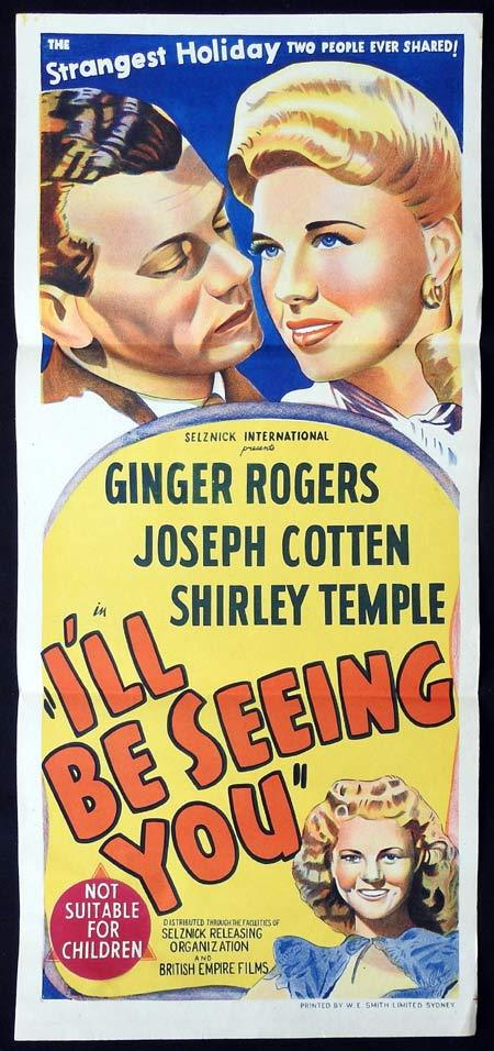 I'LL BE SEEING YOU Original Daybill Movie Poster Ginger Rogers Joseph Cotten Shirley Temple
