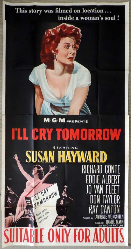 I'LL CRY TOMORROW Original 3 Sheet Movie Poster Susan Hayward