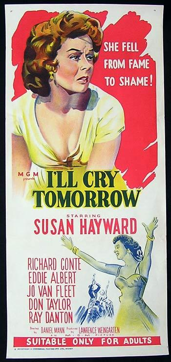 I'LL CRY TOMORROW Movie Poster 1960s Susan Hayward RARE Australian Daybill