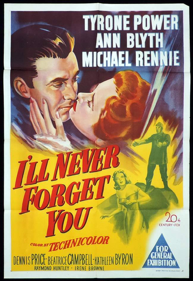 I'LL NEVER FORGET YOU Original One sheet Movie Poster Tyrone Power Ann Blyth Michael Rennie
