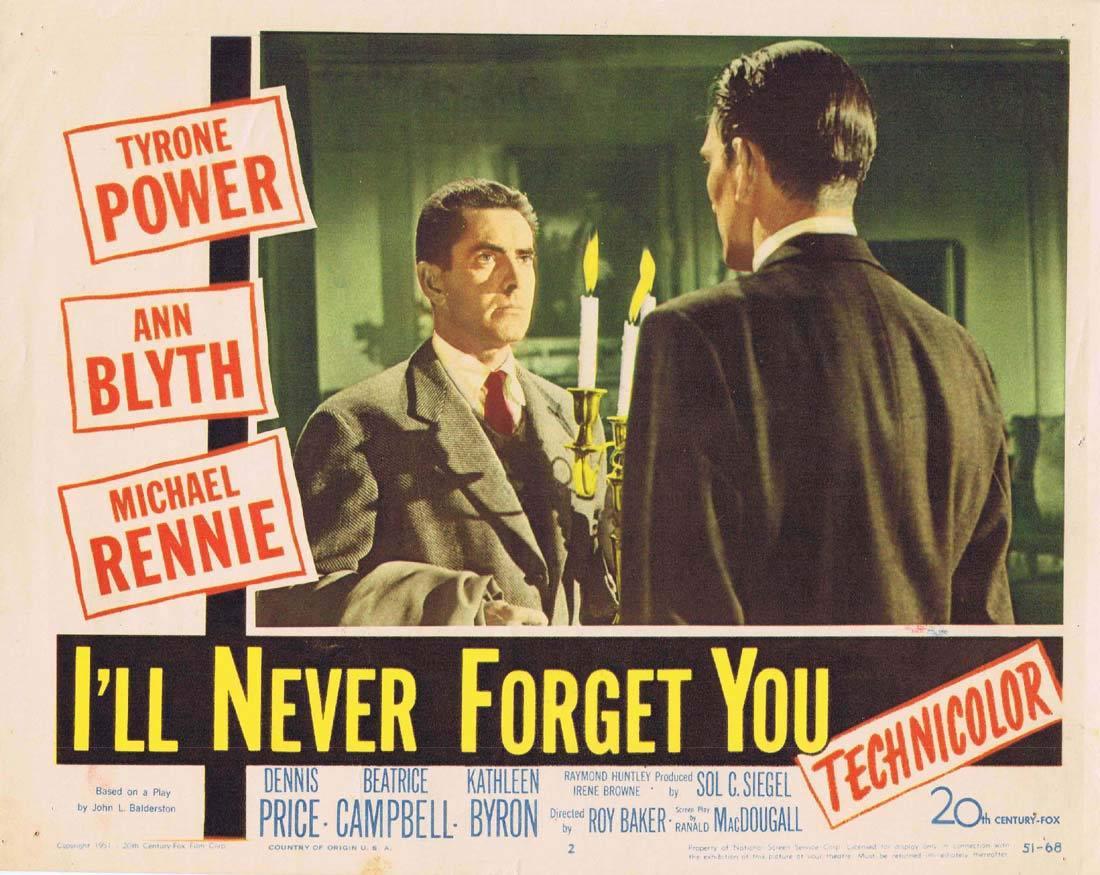I'LL NEVER FORGET YOU Lobby Card 2 Tyrone Power Ann Blyth