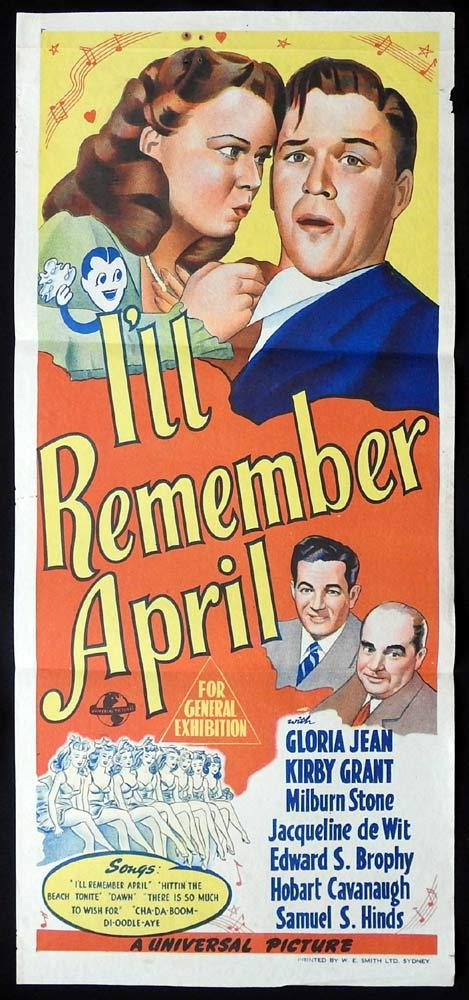 I'LL REMEMBER APRIL Original Daybill Movie poster Gloria Jean Kirby Grant