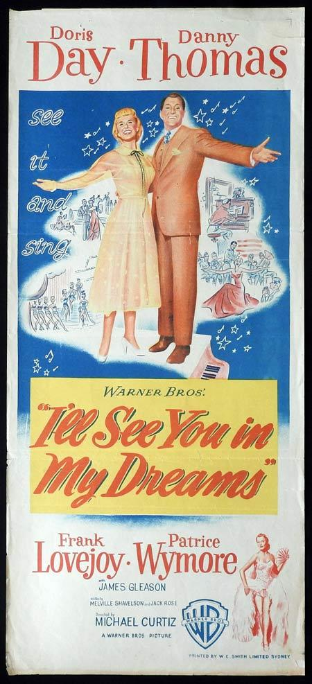 I'LL SEE YOU IN MY DREAMS Original daybill Movie Poster Doris Day Danny Thomas Frank Lovejoy