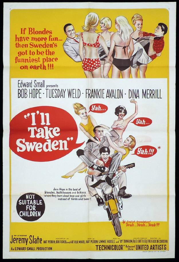 I'LL TAKE SWEDEN One sheet Movie poster Bob Hope Tuesday Weld