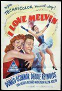 I LOVE MELVIN Original One sheet Movie Poster DONALD O'CONNOR Debbie Reynolds