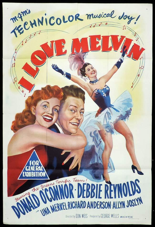 I LOVE MELVIN Original One sheet Movie Poster DONALD O'CONNOR Debbie Reynolds