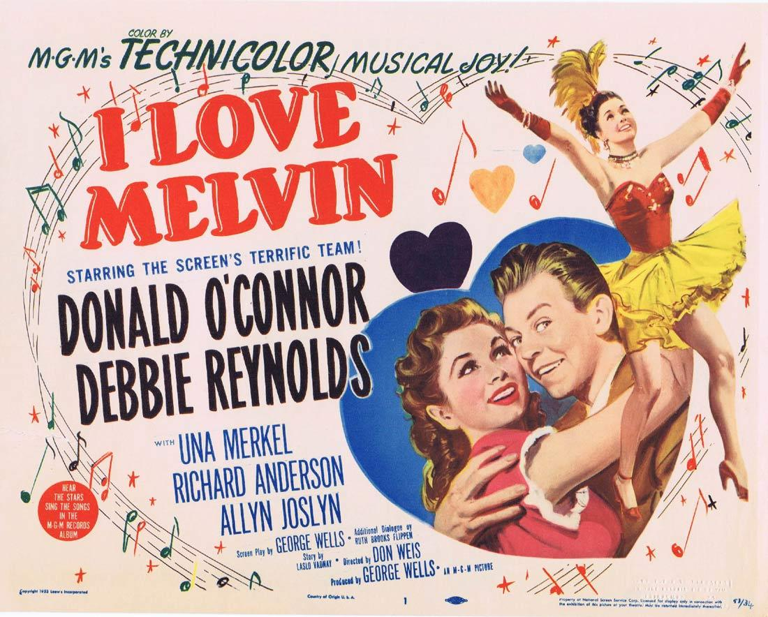 I LOVE MELVIN Title Lobby Card Donald O'Connor Debbie Reynolds