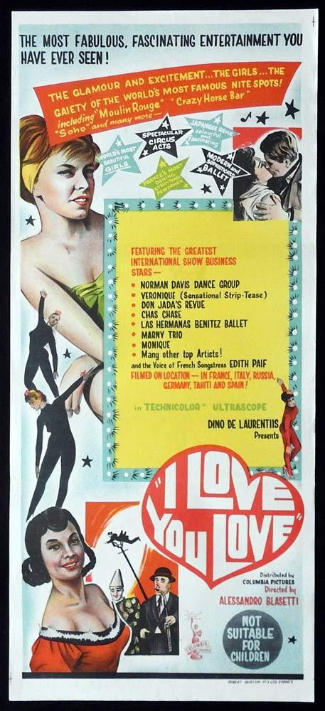 I LOVE YOU LOVE Original Daybill Movie Poster Willy Fritsch Sexploitation Giuliano Gemma