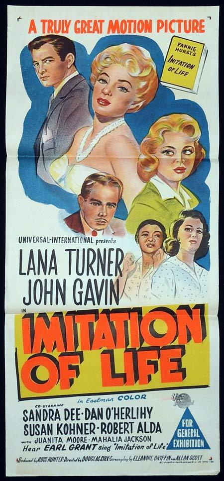 IMITATION OF LIFE Original Daybill Movie poster Lana Turner John Gavin