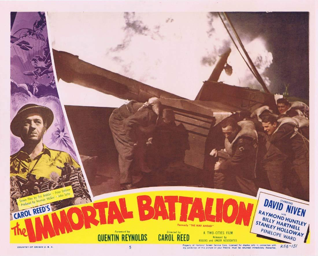 THE IMMORTAL BATTALION Lobby Card 5 David Niven Stanley Holloway William Hartnell 1954r